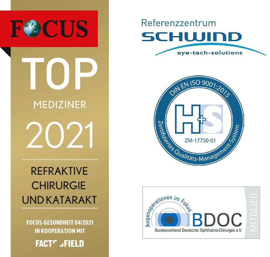Focus Siegel für das Augenlaserzentrum - Kategorie Top Mediziner der Refraktive Chirurgie
